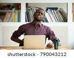 african american man touching... | Shutterstock . vector #790043212
