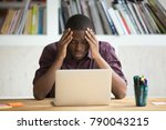 frustrated black man feeling... | Shutterstock . vector #790043215