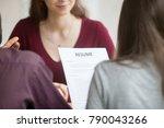 multiracial hr holding resume... | Shutterstock . vector #790043266