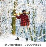 lumberjack brutal bearded man... | Shutterstock . vector #790044598