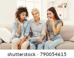three surprised female friends... | Shutterstock . vector #790054615