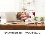 sleep at work. tired ...   Shutterstock . vector #790054672