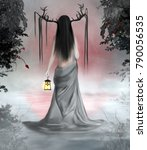 fantasy woman back with horns... | Shutterstock . vector #790056535