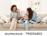 happy female friends chatting... | Shutterstock . vector #790056802