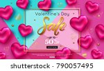 valentines day sale horizontal...   Shutterstock .eps vector #790057495