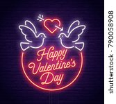 valentine's day. 3d neon sign.... | Shutterstock .eps vector #790058908