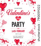 valentine's day day party flyer ... | Shutterstock .eps vector #790059322