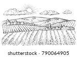 rural landscape  vector vintage ... | Shutterstock .eps vector #790064905