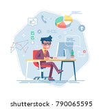office work concept vector with ... | Shutterstock .eps vector #790065595