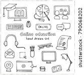 hand drawn doodle online... | Shutterstock .eps vector #790068202