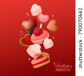valentine s day background with ... | Shutterstock .eps vector #790070662