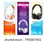 realistic earphones vertical... | Shutterstock .eps vector #790087402