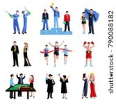 winner icons set with sport... | Shutterstock .eps vector #790088182