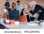 business colleagues in hijabs...   Shutterstock . vector #790109392