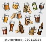 beer glass  mug or bottle of... | Shutterstock .eps vector #790113196