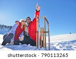 young couple sledding and... | Shutterstock . vector #790113265