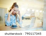 tired or confused young woman... | Shutterstock . vector #790117345