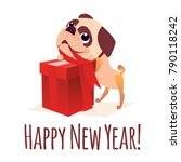merry christmass postcard.... | Shutterstock .eps vector #790118242