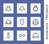 clothing icons set with sweater ...