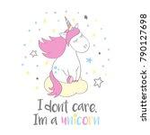 magic cute unicorn in cartoon... | Shutterstock .eps vector #790127698