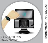 contactless payment transaction ...   Shutterstock .eps vector #790137022