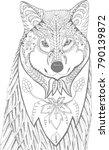 portrait of a wolf. hand drawn... | Shutterstock . vector #790139872