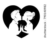 silhouettes of loving couple on ... | Shutterstock .eps vector #790140982