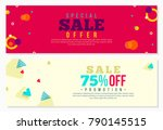 memphis style banner design on... | Shutterstock .eps vector #790145515