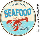 vintage metal sign   seafood  ... | Shutterstock .eps vector #790148755