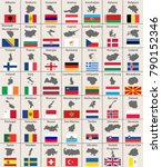 vector european maps and flags | Shutterstock .eps vector #790152346