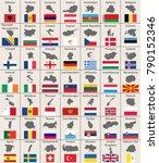vector european maps and flags | Shutterstock .eps vector #790152346