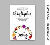 baby shower floral wreath... | Shutterstock .eps vector #790156246