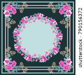 scarf floral print. russian... | Shutterstock .eps vector #790156372