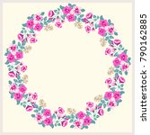 floral round frame from cute... | Shutterstock .eps vector #790162885