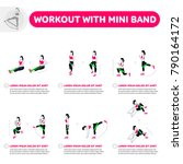workout with mini band. fitness ... | Shutterstock .eps vector #790164172