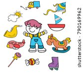 cute children with toys cartoon ... | Shutterstock .eps vector #790169962