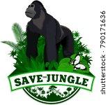 vector jungle emblem with...   Shutterstock .eps vector #790171636