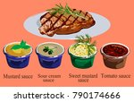 roasted meat on a plate with... | Shutterstock .eps vector #790174666