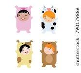 cute little kids wearing animal ... | Shutterstock .eps vector #790179886