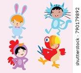 cute little kids wearing animal ... | Shutterstock .eps vector #790179892