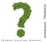 question sign of green leaves....   Shutterstock .eps vector #790186312