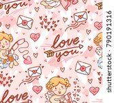 cute seamless love pattern for... | Shutterstock .eps vector #790191316