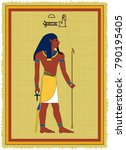 papyrus with the image of atum  ...   Shutterstock .eps vector #790195405