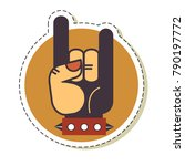 hand up rock and roll gesture... | Shutterstock .eps vector #790197772