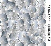 floral vintage white seamless...   Shutterstock .eps vector #790198666