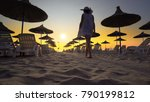 woman in white dress and hat... | Shutterstock . vector #790199812