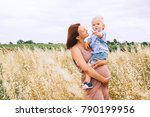 beautiful pregnant woman and... | Shutterstock . vector #790199956