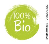 bio label vector  painted round ... | Shutterstock .eps vector #790209232