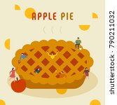 oversize apple pie and... | Shutterstock .eps vector #790211032