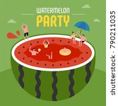 oversize watermelon and... | Shutterstock .eps vector #790211035